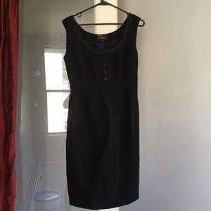 Tahari button detail black dress